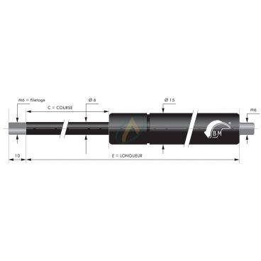 Vérin à gaz tige diamètre 6 mm avec filetage M6