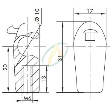 Cage plastique à rotule diamètre 10 mm longueur 20 mm taraudé M6