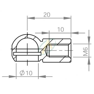 Cage acier à rotule diamètre 10 mm longueur 20 mm taraudé M6