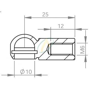 Cage acier à rotule diamètre 10 mm longueur 25 mm taraudé M6