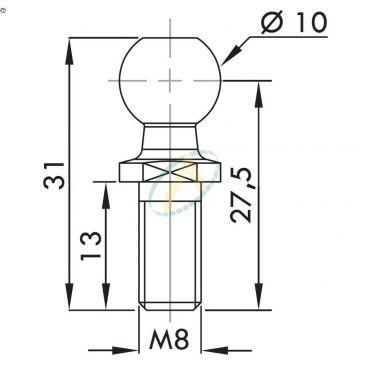 Rotule acier diamètre 10 mm fileté M8 pour cage longueur 27,5 mm