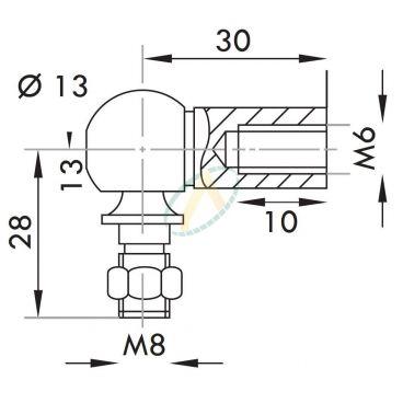 Cage acier taraudé M6 avec rotule fileté M8  longueur 30 mm