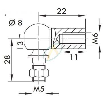 Cage acier taraudé M6 avec rotule fileté M5  longueur 22 mm
