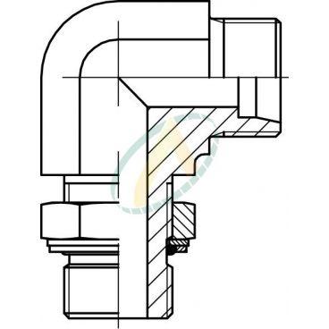 Adaptateur coudé 90° mâle 12L DIN - mâle 3/8 BSPP