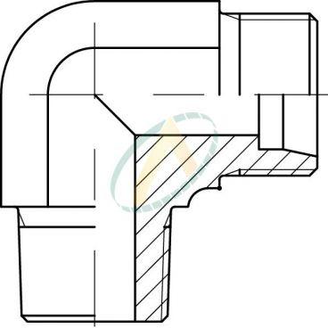 Adaptateur coudé 90° mâle 17 GAZ - mâle 1/2 BSPT