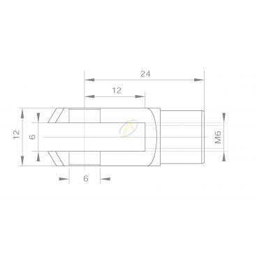 Fourche acier diamètre 6 mm taraudé M6 longueur 24 mm
