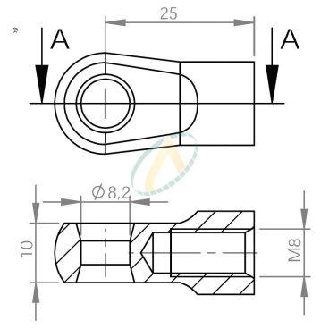 Chape zamak  diamètre 8,2 mm largeur 10 mm taraudé M8