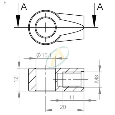 Chape zamak  diamètre 10,1 mm largeur 12 mm taraudé M8