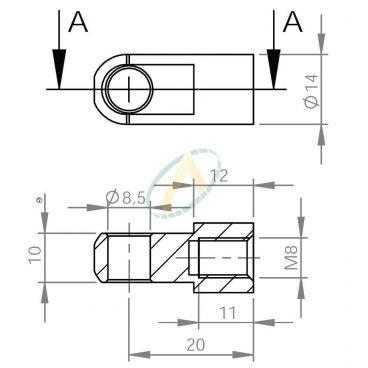 Chape acier à œil diamètre 10,1 mm largeur 10 mm taraudé M8