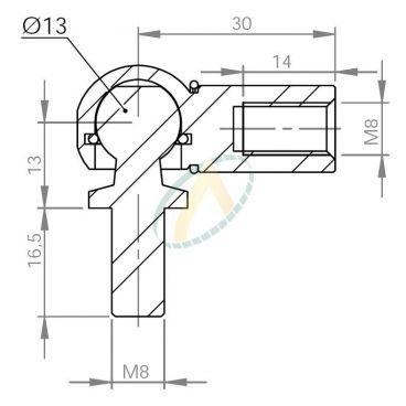 Cage acier taraudé M8 avec rotule fileté M8 longueur 30 mm