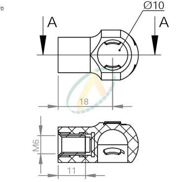 Cage plastique à rotule diamètre 10 mm taraudé M8 longueur 18 mm