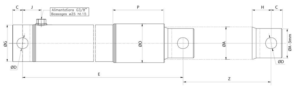 Schéma vérin hydraulique simple effet