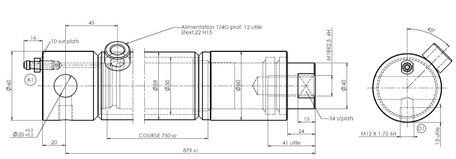 vérin hydraulique simple effet tige 40 mm