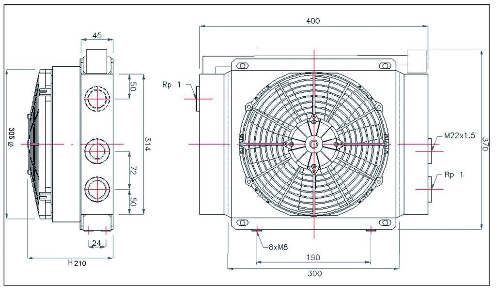 schéma échangeur thermique 20 à 110 litres/minute