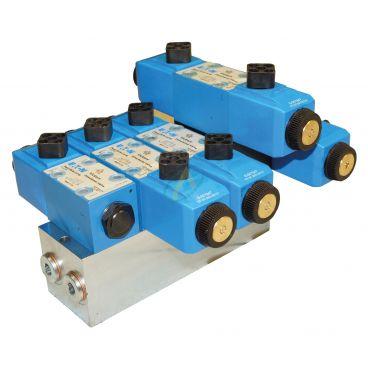 Distributeur hydraulique à commande électrique avec boîtier pour lames de déneigement, 2 fonctions