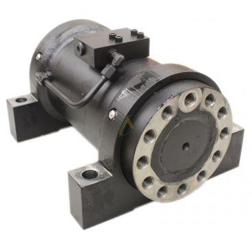 Vérins rotatif 180° avec pied de fixation et valve d'équilibrage flasquée
