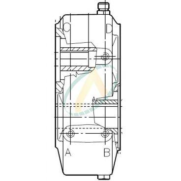 Boîtier réducteur 4/1 - 150 daN/m - Arbre femelle 35 mm - Entraxe 106.4 mm