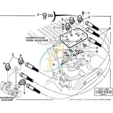 Plaque et flexible pour piquage sur Tracteur séries 3000/4000 & 5000