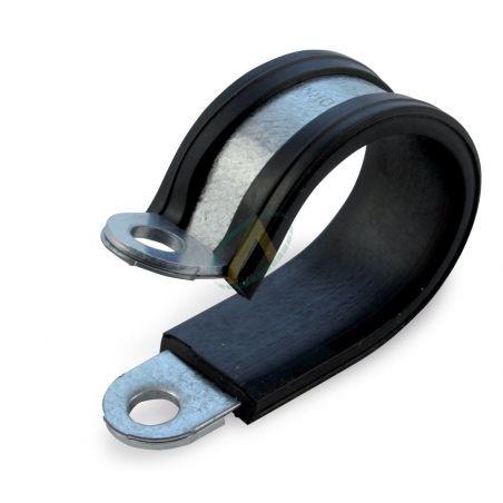 Collier simple matière métallique/caoutchouc