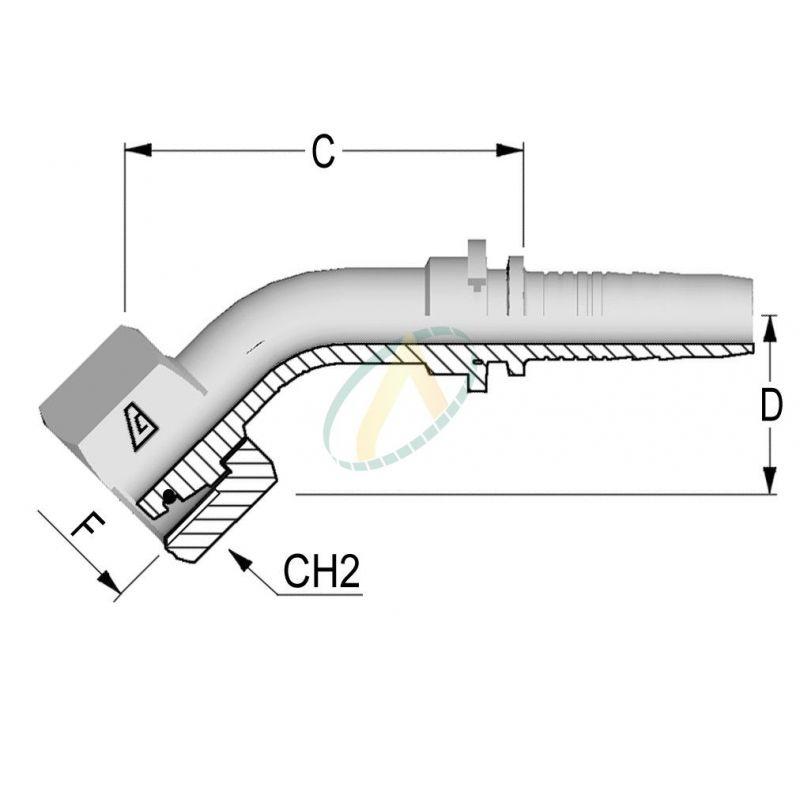 Embouts Coude 45° Femelle Normes DIN 3865 - Série L