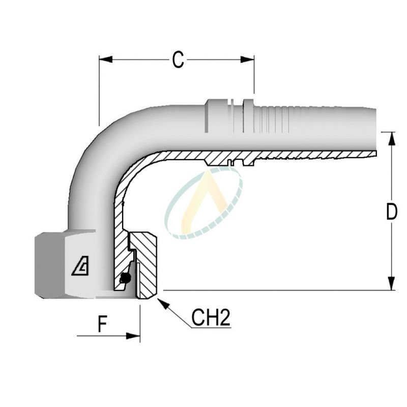 Embouts Coude 90° Femelle Normes DIN 3865 - Série L