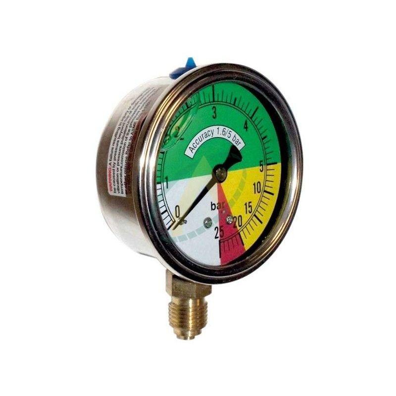 Manomètre à échelle dilatée ø63mm - Prise 1/4 BSP - Pulvérisateur 25 bars max.