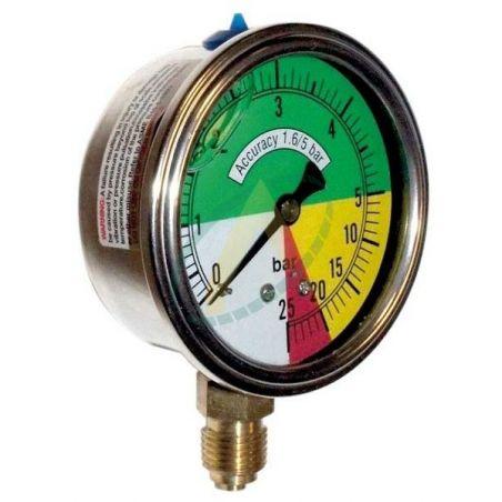 Manomètre à échelle dilatée ø100mm - Prise 1/4 BSP - Pulvérisateur 25 bars max.