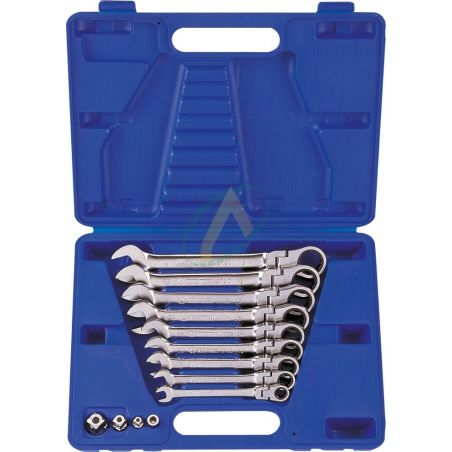 Coffret de clés mixtes à cliquet tête articulée métriques avec adaptateurs - 13 pièces