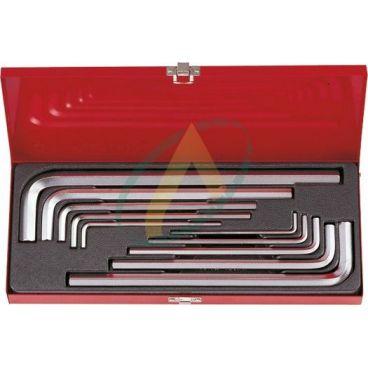 Coffret de clés mâles 6 Pans extra longues métriques - 10 pièces