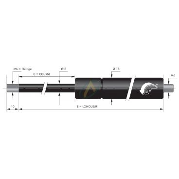 Vérin à gaz tige diamètre 8 mm avec filetage M6