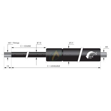 Vérin à gaz tige diamètre 10 mm avec filetage M8