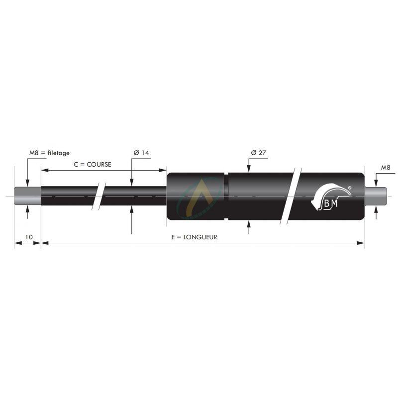 Vérin à gaz tige diamètre 14 mm avec filetage M8