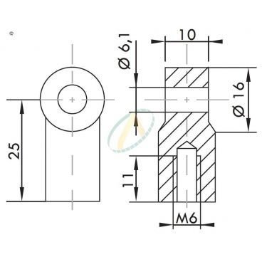 Chape plastique diamètre 6,1 mm largeur 10 mm taraudé M6