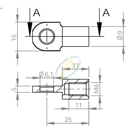 Chape acier à œil diamètre 6,1 mm largeur 5 mm taraudé M6