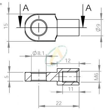 Chape acier à œil 8x5 diamètre 8,1 mm largeur 5 mm taraudé M6