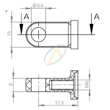 Chape aluminium diamètre 8,6 mm largeur 8 mm taraudé M6