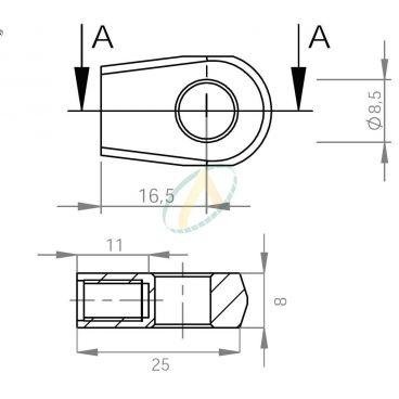 Chape zamak diamètre 8,6 mm largeur 8 mm taraudé M6