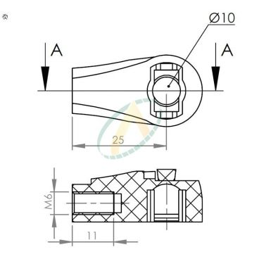 Cage plastique à rotule diamètre 10 mm longueur 25 mm taraudé M6
