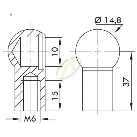 Cage acier à rotule diamètre 10 mm longueur 37 mm taraudé M6
