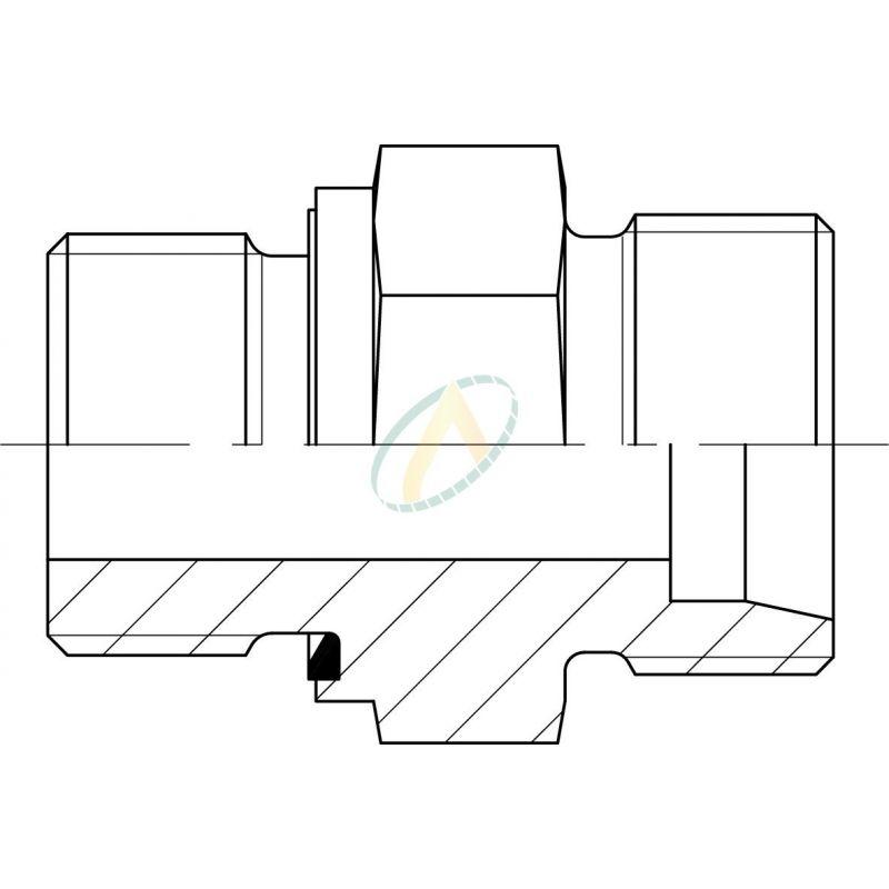 Adaptateur droit mâle 8L DIN - mâle M12X150