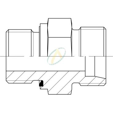 Adaptateur droit mâle 12L DIN - mâle M22X150