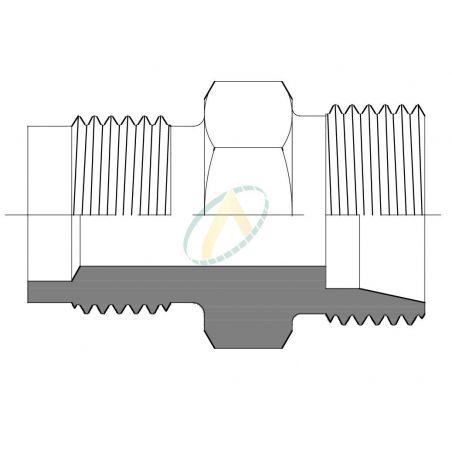 Adaptateur droit mâle 17 GAZ - mâle M18X150