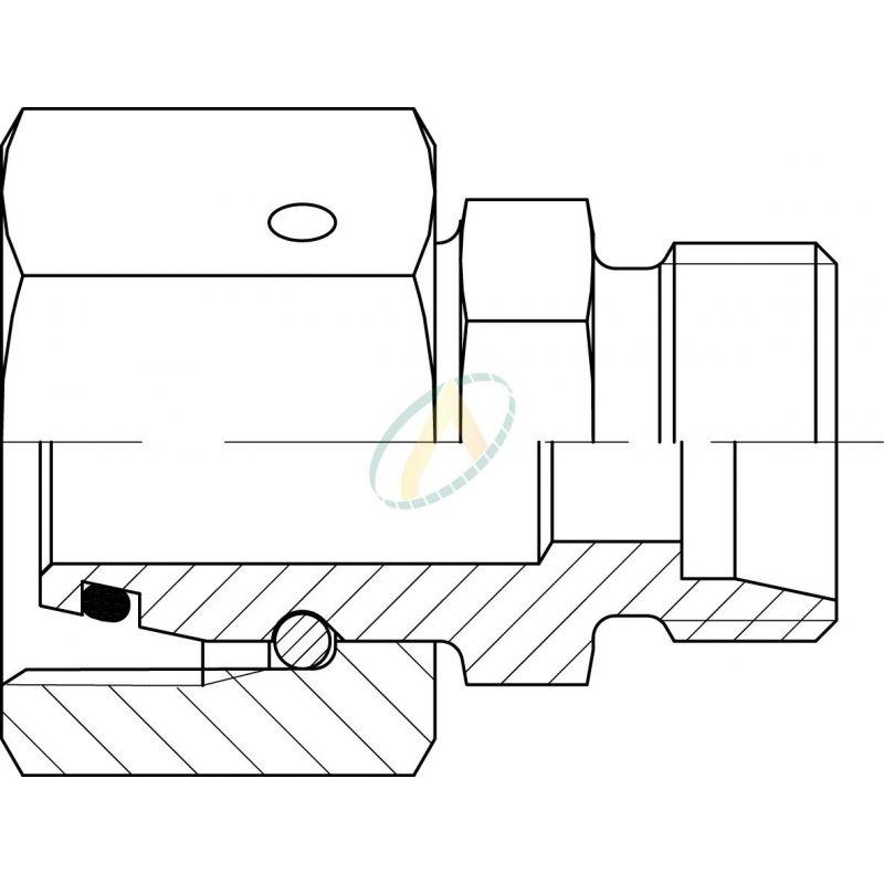 Réducteur droit mâle 6L DIN - femelle tournant 12L DIN