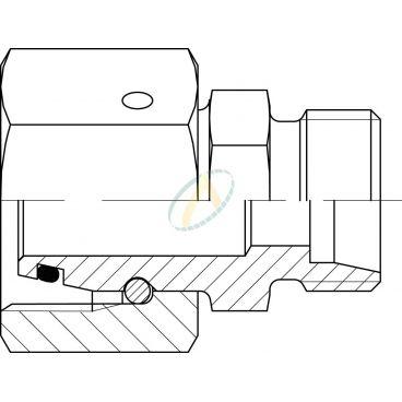Réducteur droit mâle 22L DIN - femelle tournant 28L DIN