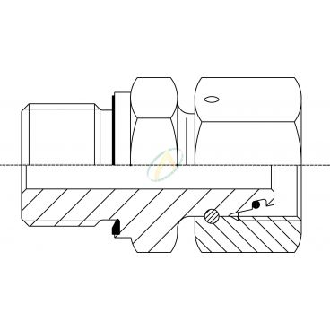 Adaptateur droit mâle M10X100 - Femelle tournant 6L DIN