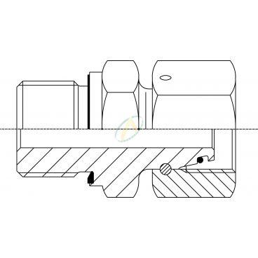 Adaptateur droit mâle M22X150 - Femelle tournant 18L DIN