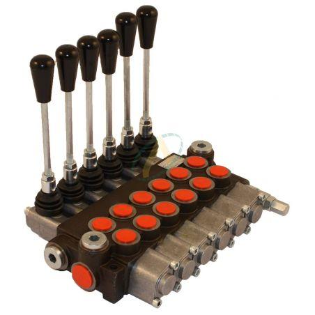 Distributeur hydraulique manuel monobloc 40 l/min 6 fonctions