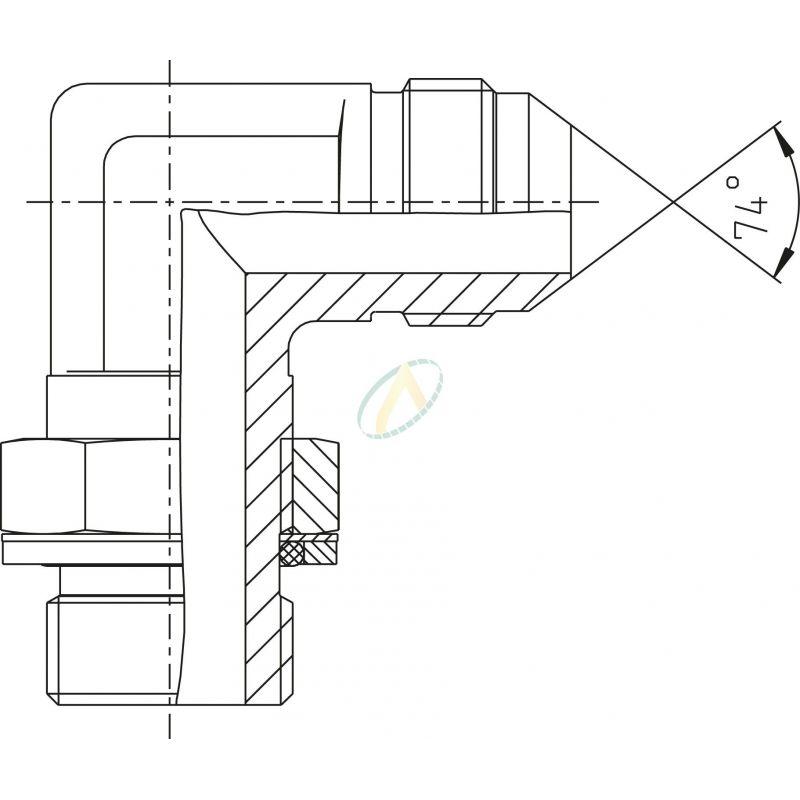 Adaptateur coudé 90° mâle 9/16 JIC - mâle 1/2 BSPP