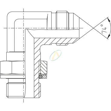 Adaptateur coudé 90° mâle 3/4 JIC - mâle 3/8 BSPP
