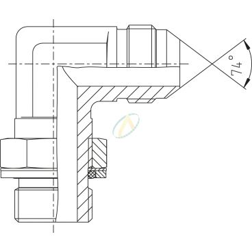 Adaptateur coudé 90° mâle 9/16 JIC - mâle 3/4 BSPP